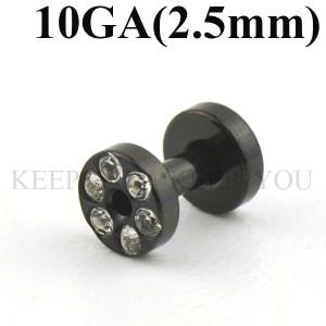 メール便 送料無料/ブラック フレッシュトンネル キュービックCZ付き 10GA(2.5mm)Anodized【ボディピアス/ボディーピアス】 ┃
