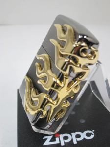 ジッポー豪華Zippo ゴールドファイアーメタル(3面)銀黒 #150M-Fire-G 新品