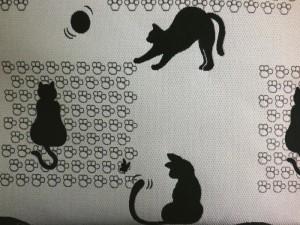 着物&お稽古事&洋服に 和柄織地手提げバッグ薄グレー地猫ねこ横型