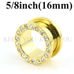【メール便 送料無料】ボディピアス フレッシュトンネル ゴールド キュービックCZ付 5/8inch(16mm)Anodized  ┃