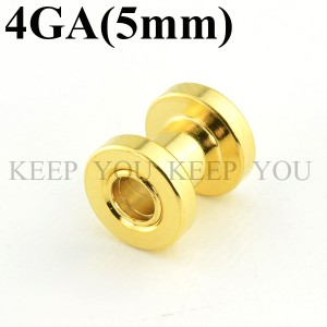 【メール便 送料無料】フレッシュ トンネル ゴールド ボディピアス 4GA (5mm) アイレット Anodized Gold ボディーピアス ┃