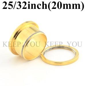 【メール便 送料無料】フレッシュトンネル ゴールド 25/32inch(20mm) Anodized Gold【ボディーピアス/ボディピアス】 ┃