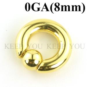 メール便 送料無料 キャプティブビーズリング ゴールド 0GA(8mm)BCR SPRINGBALL Anodized GOLD 【ボディピアス ボディーピアス】 ┃