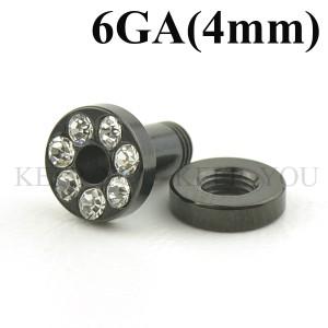 メール便 送料無料/フレッシュトンネル ブラック キュービックCZ付き 6GA(4mm)Anodized【ボディピアス/ボディーピアス】 ┃