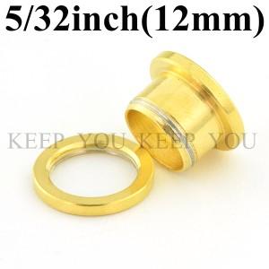 メール便 送料無料/フレッシュトンネル ゴールド 5/32inch(12mm)アイレット サージカルステンレス316L【ボディーピアス】12ミリ ┃