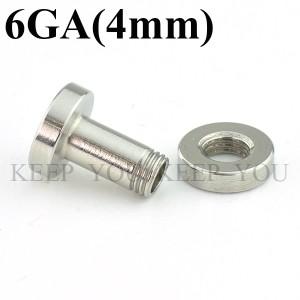 メール便 送料無料 フレッシュトンネル 6GA(4mm)アイレット サージカルステンレス316L  ボディーピアス ボディピアス 6ゲージ(4ミリ) ┃