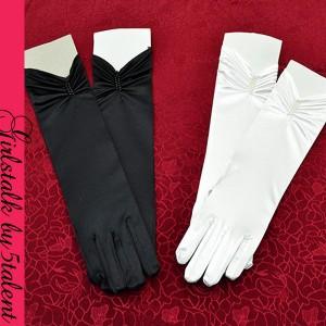 【グローブ】パール!ロイヤルレディなサテンミディ丈手袋!ホワイト・ブラック[メール便OK]