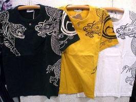 INFINITY インフィニティ 半袖和柄Tシャツ 竜虎