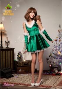 [即納]サンタ コスプレ コス コスチューム 衣装 セクシー 定番 ワンピ クリスマス 2016 サンタクロース 個性 黒 緑 赤 大人
