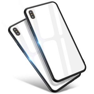 06477132cb iPhone Xs Max ケース スマホケース ガラス背面 TPUバンパー 薄型 耐衝撃 レンズ保護 ハードケース