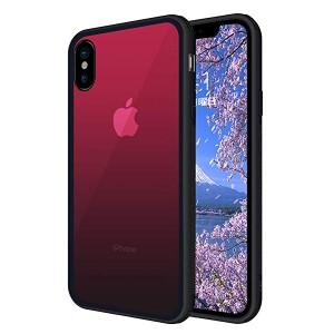 96de699170 iPhone XS Max ケース ガラス背面 クリア TPUバンパー 強化ガラスケース 硬度9H 透明 グラデーション