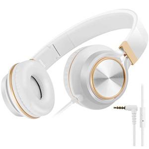 子供用 ヘッドホン FT58 キッズ用 ヘッドホン ステレオ 折りたたみ式 ヘッドホン マイク付き MP3 携帯 ゲーム機 (ゴールド)