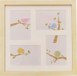 クレエ ハンドメイドの写真立て フォトフレーム パインカラーファミリーフレーム4 ホワイト 91500095