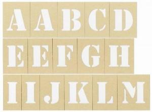 ステンシル S 紙製 シート 54ピース(英数文字数47)文字丈約42mm<実用新案登録済>