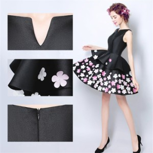 ドレス ミニドレス ショートドレス パーティードレス黒 結婚式ドレス ワンピース ワンピ お姫様 お揃い ブライズメイド
