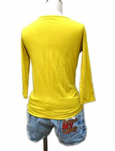 レディース 七分袖 Tシャツ Mサイズ イエロー [着丈50〜55cm]タイ雑貨 アジアン雑貨
