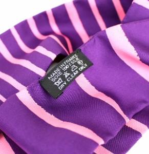 銀座 エルメス ツイリー シルク100% スカーフ パープル×ピンク