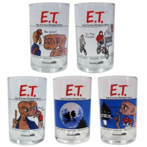 E.T. THE EXTRA-TERRESTRIAL グラス5Pセット/アメリカン雑貨アメリカ雑貨SUNTORYサントリー記念ノベルティー映画