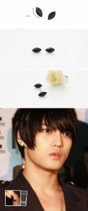 韓国スター・アクセサリー JYJのジェジュンst ブラック カッティング ピアス EARRING (2個1セット)