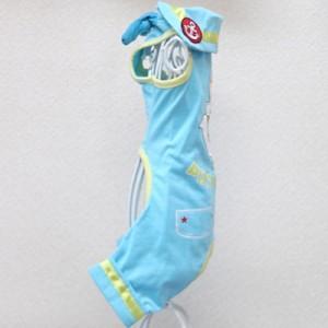 犬 犬服 ロンパース つなぎ オーバーオール ブルー MLサイズ マリン 春夏用 ネクタイ付き プレゼント付き