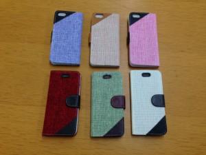 送料込み! iPhone6 Plus用『布風』 手帳型 ケース 選べる6色 簡易梱包料金値下げ!