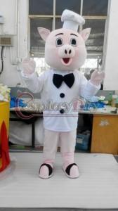 高品質 高級コスプレ衣装 着ぐるみ 子豚ちゃん シェフマスコット イベント 催事 マスコット 誕生日会 サプライズ Pig Mascot Cartoon
