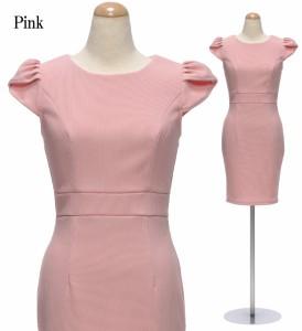 【アウトレット】【4サイズ】パフショルダー×クルーネック ストレッチワンピースドレス