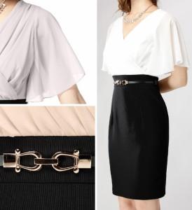 【アウトレット】【4サイズ】ベルト付き シフォンスリーブ Vネック ドッキングワンピースドレス 大きいサイズ XLサイズ