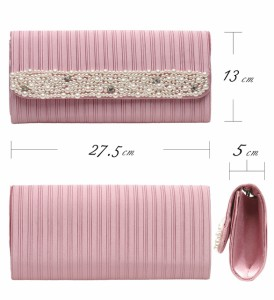 【アウトレット】3wayクラッチバッグ パール装飾×全面サテンプリーツ 横幅27.5cm大きめサイズ