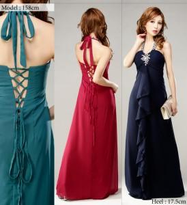 【アウトレット】オーロラビジュー装飾 シフォンAラインホルターロングドレス