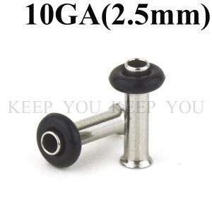 【メール便 送料無料】ボディピアス ハーフフレア 10GA(2.5mm)アイレット サージカルステンレス316L ボディーピアス シングルフレア ┃
