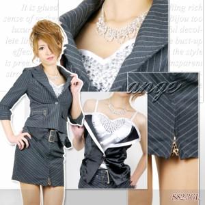 S1209-003/【送料無料】キャバスーツ/胸元キラキラベストキャミ付き ストライプスーツ