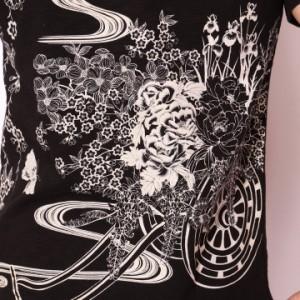 在庫限りセール SALE 50%off ジャパネスク 蝶と花車柄刺繍&抜染プリント 和柄 半袖Tシャツ(3RST-503)※ご奉仕品の為返品交換不可