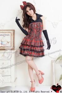 【FakeLips】<ドレス>ゴスロリ☆赤チェック☆コスプレ メイド メイド服 ワンピース ゴシック ロリータ セクシー ハロウィン 衣装