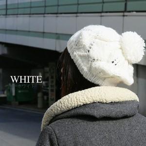 帽子 ベレー 帽子 レディース あったか模様編みニットベレーポンポン付き 帽子 ベレー帽