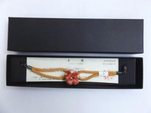 女性マグネット羽織紐はおりひも和柄花橙色ひも