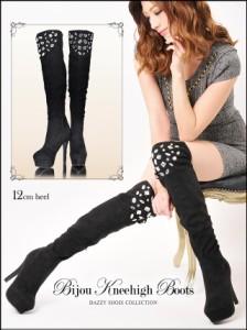 [4サイズ S/M/L/LL] 12cmヒール ビジュー付スエードニーハイブーツ / 靴 厚底 ロング ブーツ秋冬