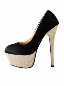 [4サイズ S/M/L/LL] 15cmヒール煌めきラメヒール&ソールサテンラウンドトゥパンプス / 靴 厚底