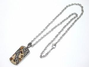 ヒョウ柄ファー貼りプレートネックレス・メール便(ゆうパケット)なら送料無料・シルバー・V系・バンギャ・キレイめ・豹・M-1726