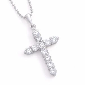 清楚なクロスネックレス最高級品質AAA(トリプルエー)キュービックジルコニア胸元からキレイを楽しむ十字架ペンダント