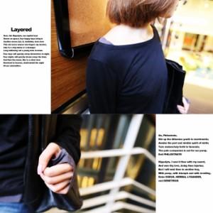 メール便送料無料 M〜4L 大きいサイズ 指穴レイヤード コットン Uネック カットソーロングTシャツチュニック【即納】tops0001