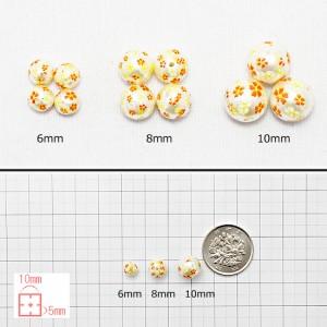 桜プリントパールビーズ6mm 10個★ビーズ 樹脂パール フェイクパール サクラ さくら 和風