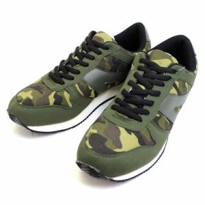 ランニング スニーカー グリーン カモ カモフラージュ スエード調 PUレザー 靴 シューズ br7371-green