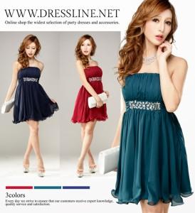 【アウトレット】【3サイズ】クリアビジュ装飾 シフォンフレア ワンピースドレス