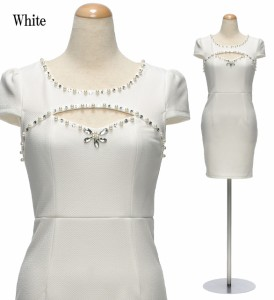 【アウトレット】【4サイズ】パールビジュー×ホールネック フレンチスリーブワンピースドレス