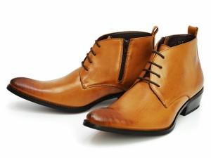 ビジネスシューズ メンズブーツ チャッカブーツ モード系  チゼルトゥ サイドゴア メンズ靴  デザイン ドレスブーツ 紳士靴