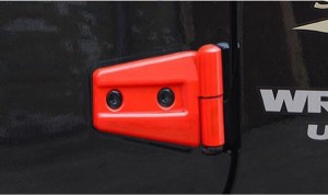 ジープ ラングラー エンジンフード ドア ヒンジ カバー 8set レッド 送料無料