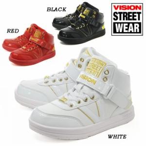 現品限り! VISION BROOKLYNE KIDS 021 BLACK WHITE RED ヴィジョン キッズ 子供用 ヒップホップ ダンスシューズ スニーカー