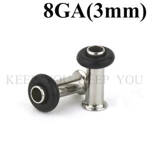 【メール便 送料無料】シングルフレア 8GA(3mm) ハーフフレア アイレット サージカルステンレス316L【ボディピアス】8ゲージ(3ミリ) ┃