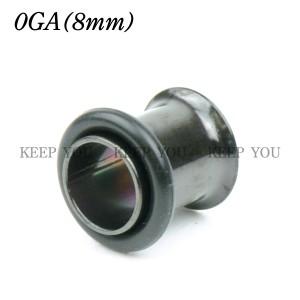 【メール便 送料無料】ハーフフレア アイレット ブラック カラー 0GA(8mm) BLACK シングルフレア ボディーピアス ボディピアス 黒色 ┃